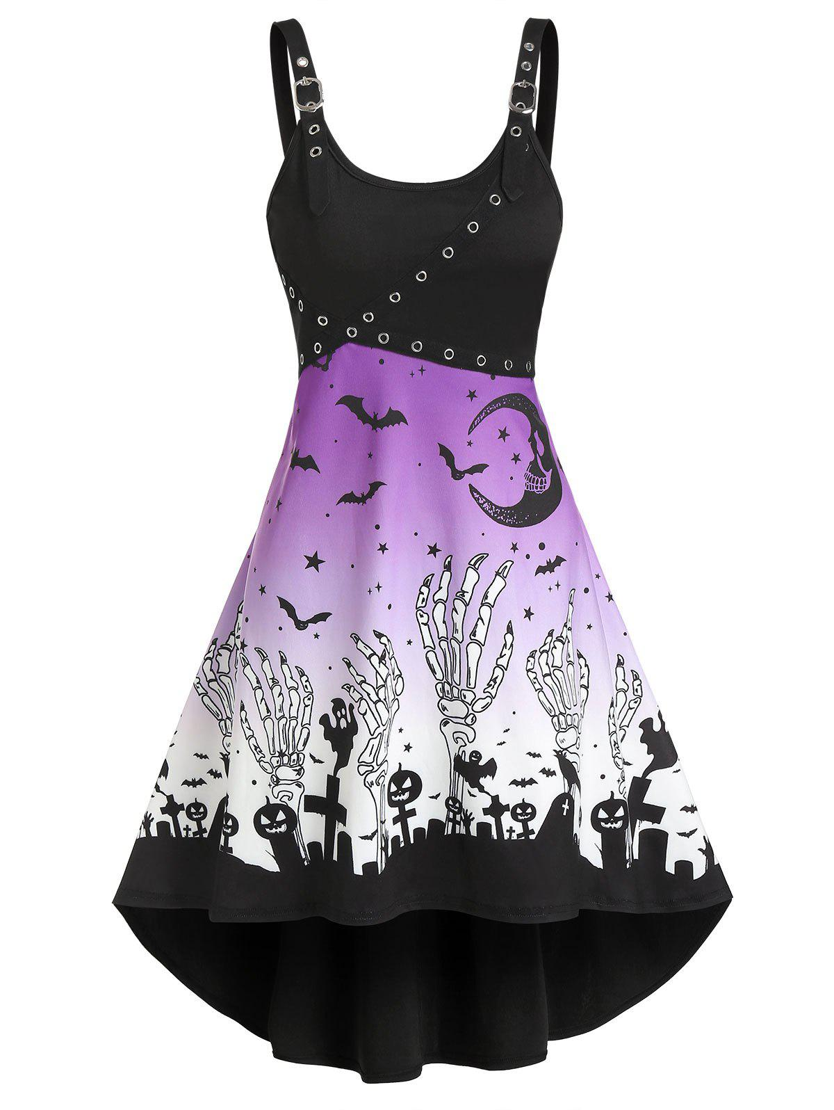 Halloween Pumpkin Skeleton Print Grommet Cami High Low Dress фото