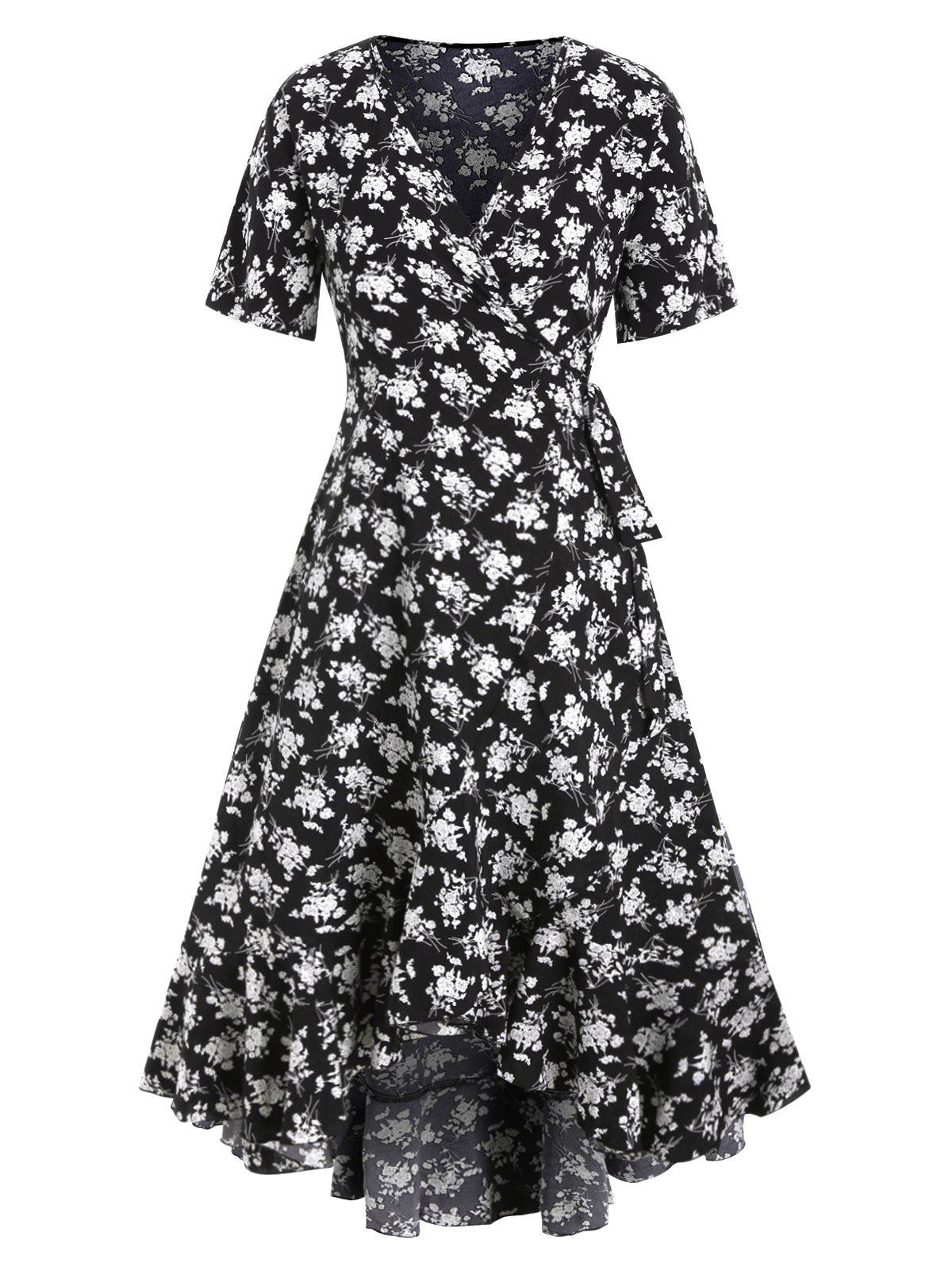 Buy Floral Flounce Hi Lo Maxi Wrap Dress