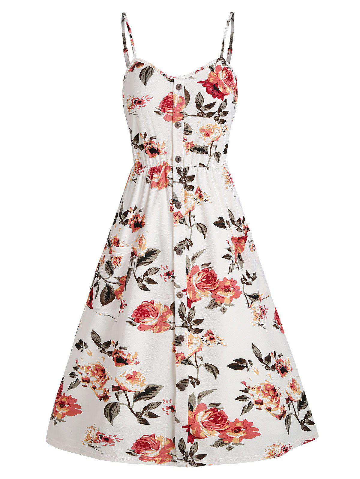 Cheap Floral Smocked Back Mock Buttons Cami Dress