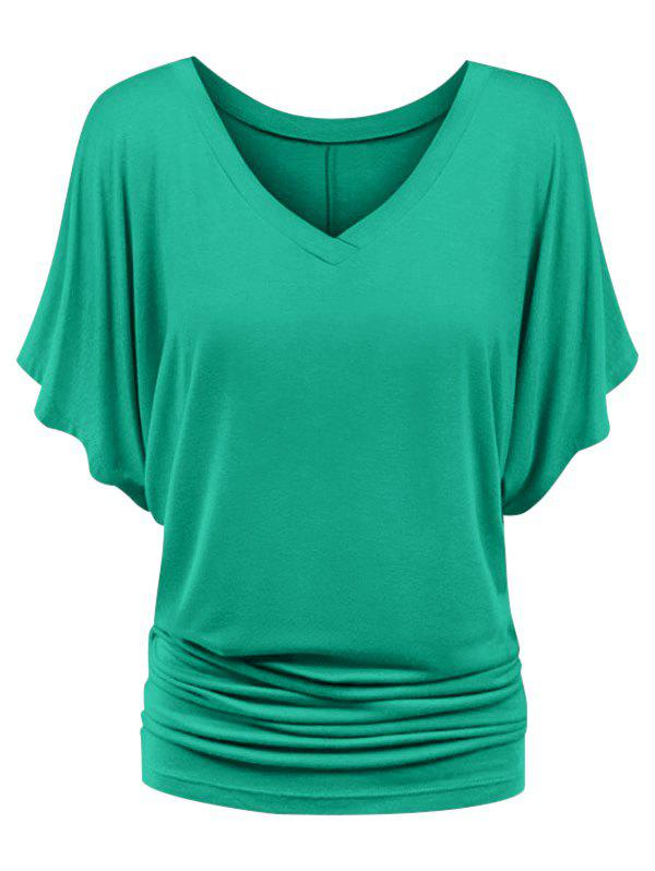 Discount Plus Size Ruched Batwing Sleeve Top