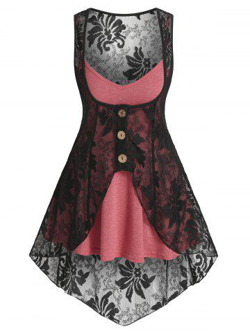 Heathered Flare Cami Top and Pointed Hem Lace Vest - CHERRY RED - S