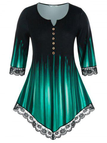 Plus Size Lace Panel V Notch Buttoned Print Tunic Tee - DEEP GREEN - 2X
