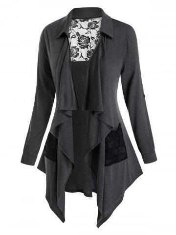 Plus Size Draped Lace Panel Sheer Roll Tab Sleeve Cardigan - CARBON GRAY - L