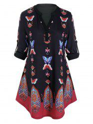 Plus Size Butterfly Tribal Print Roll Up Sleeve Blouse -