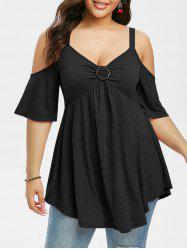 Plus Size Cold Shoulder Cutout Casual Tunic Tee -