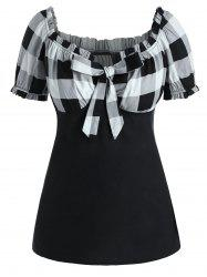 Plus Size Bow Tie Checked T Shirt -