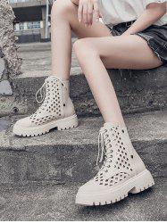 Hollow Out Leather Cargo Ankle Boots -