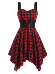 Lace Up Plaid Handkerchief Dress -