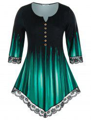 Plus Size Lace Panel V Notch Buttoned Print Tunic Tee -