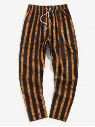 Vertical Striped Drawstring Pencil Ankle Pants -