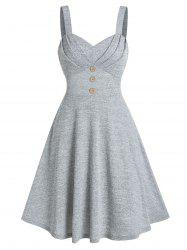 Pure Color Pleated Cami A Line Dress -