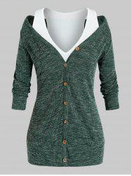 Plus Size Knitted Long Sleeve T-shirt and Racerback Tank Top Set -