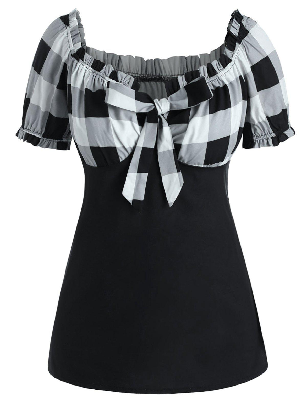 Fancy Plus Size Bow Tie Checked T Shirt