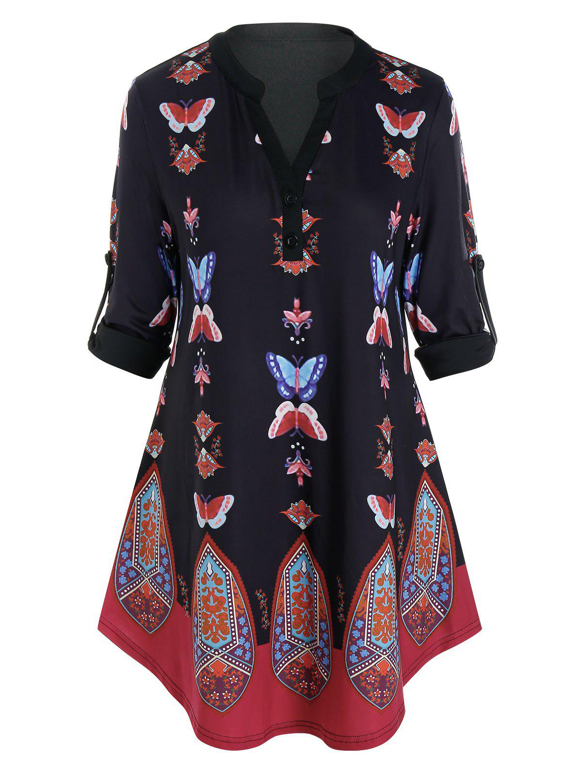 Chic Plus Size Butterfly Tribal Print Roll Up Sleeve Blouse
