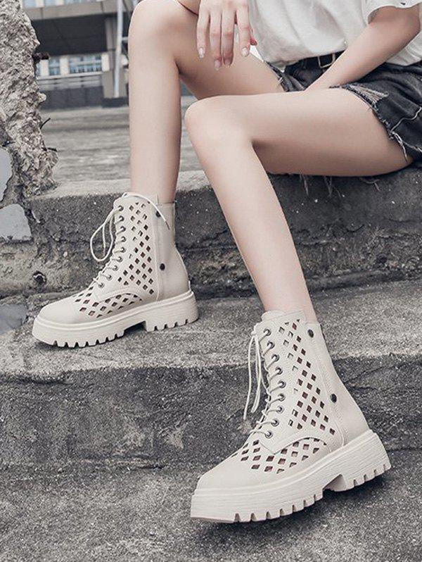 Hollow Out Leather Cargo Ankle Boots