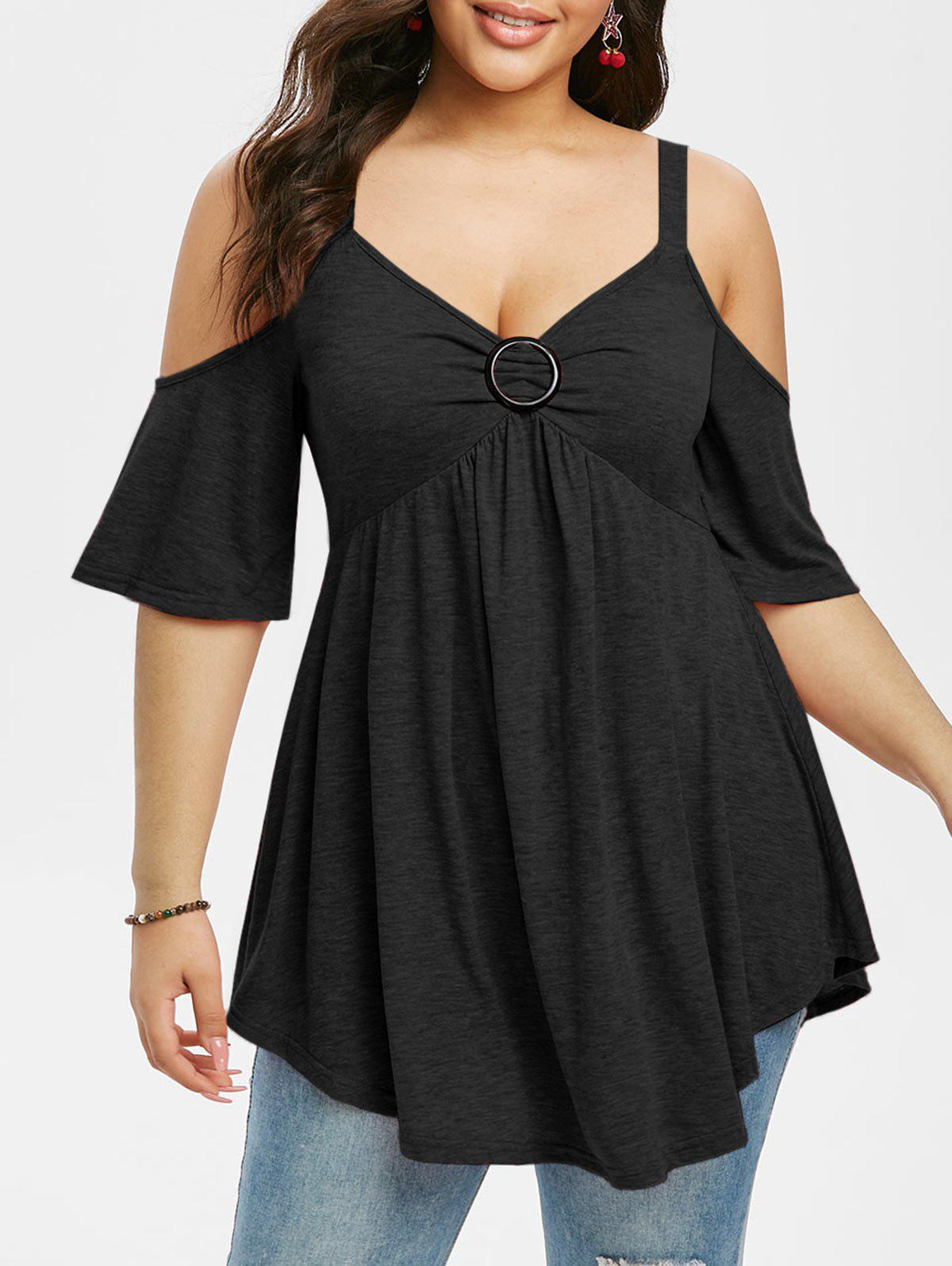 Best Plus Size Cold Shoulder Cutout Casual Tunic Tee