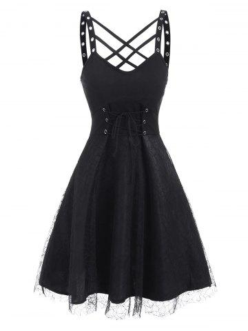 Lattice Grommets Mesh Overlay Dress