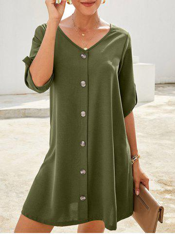 Roll Button Sleeve Button Embellished Mini Dress