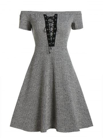 Off Shoulder Lace Up Knitted A Line Dress