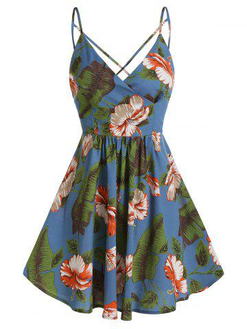 Flower Palm Print Crisscross Back Slip Dress