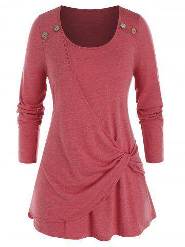 Plus Size Overlap Twisted Long Sleeve Tunic Tee - VALENTINE RED - 5X