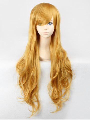 Long Oblique Bang Wavy Heat Resistant Fiber Anime Synthetic Wig - BEE YELLOW