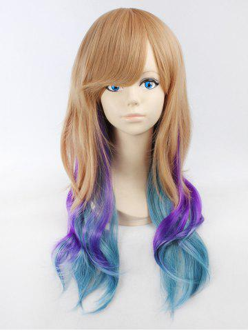 Long Side Bang Wavy High Temperature Ombre Synthetic Wig - MULTI