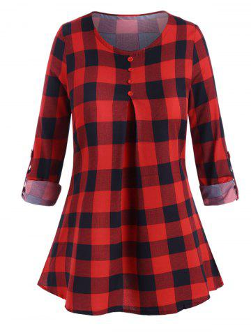 Plus Size Plaid Print Cuff Sleeve Mock Button Blouse - RED - 4XL