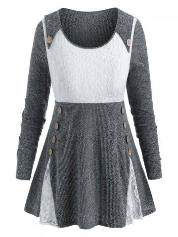 Plus Size Lace Insert Mock Button Ribbed Sweater - DARK GRAY - 5X