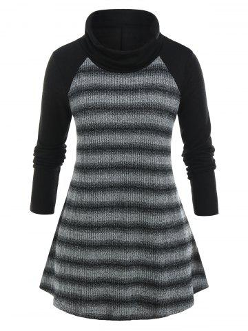 Plus Size Turtleneck Marled Striped Baseball Tunic Sweater - BLACK - 5X