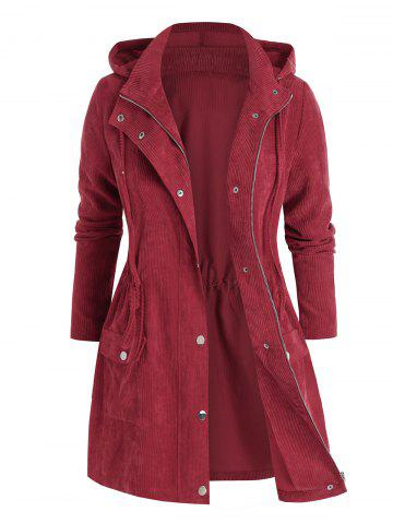 Plus Size Corduroy Hooded Zip Drawstring Pocket Coat - RED WINE - 5X