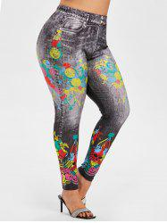 High Waisted Skull 3D Print Halloween Plus Size Jeggings -