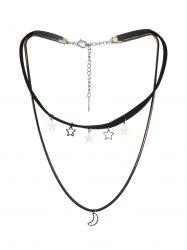 Moon And Stars Layered Cord Choker Necklace -