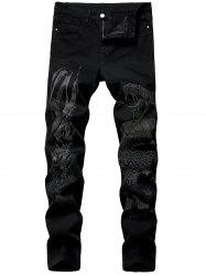 Snake Print Tapered Jeans -