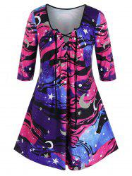 Plus Size Galaxy Moon and Star Tunic Lace-up Tee -