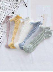 5Pairs Striped Cotton Mesh Panel Socks Set -