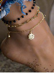 3Pcs Beads Sun And Moon Pendant Anklets Set -