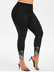 High Waisted Printed Panel Scalloped Trim Plus Size Leggings -