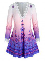 Plus Size Ombre Print Openwork Lace Eyelash Tunic Tee -