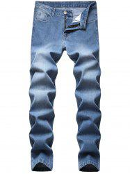Medium Wash Zipper Fly Tapered Jeans -