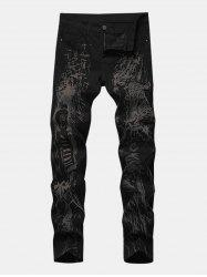 Hunter Leopard Print Zipper Fly Tapered Jeans -