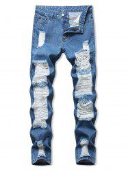 Ladder Distressed Zipper Fly Straight Leg Jeans -