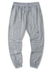 Drawstring Ripped Tapered Sweatpants -
