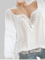 Plus Size Lace Crochet Peasant Blouse -