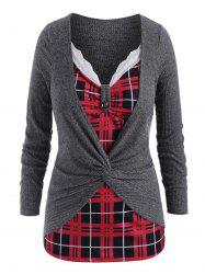 Plus Size Twist  Plaid Insert Marled Knitwear -