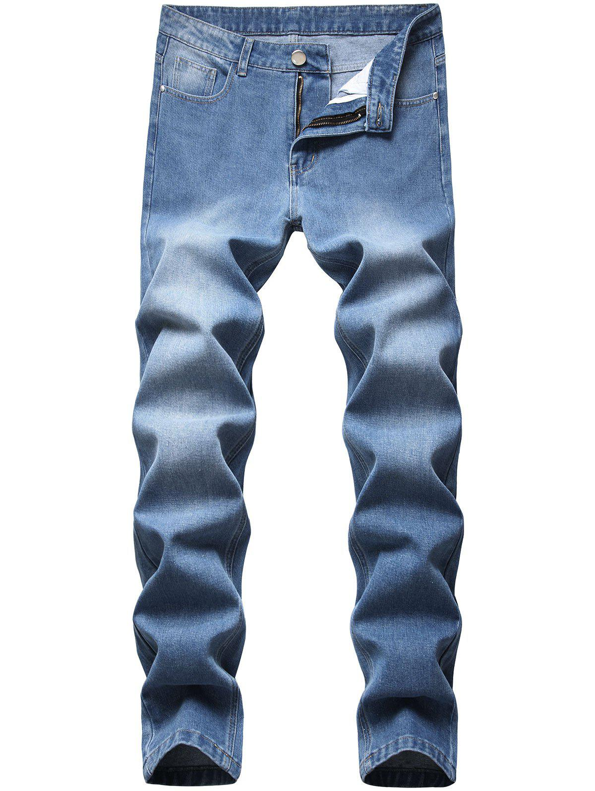 New Medium Wash Zipper Fly Tapered Jeans