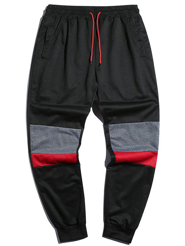 Trendy Drawstring Contrast Tapered Jogger Sweatpants