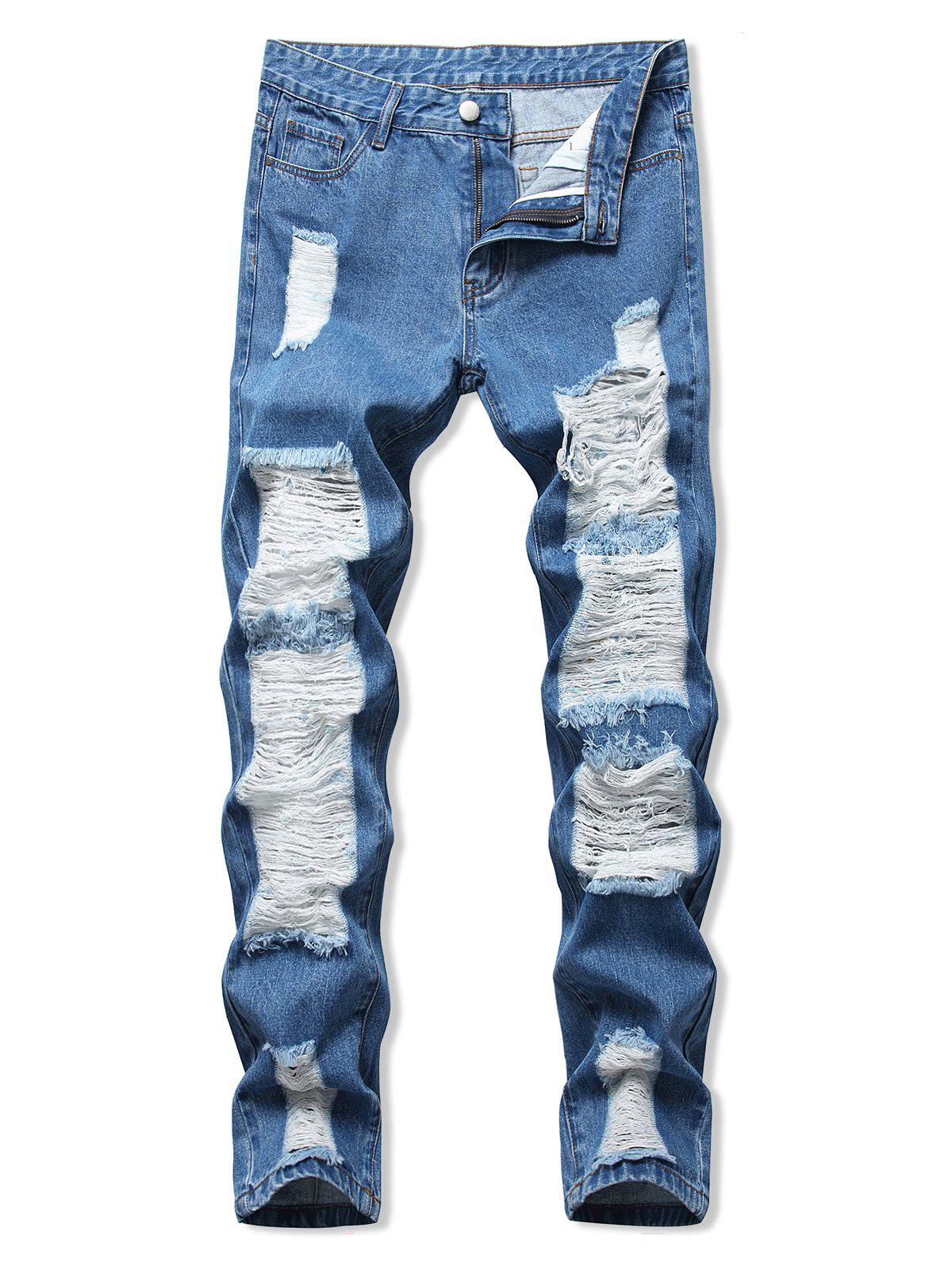 Online Ladder Distressed Zipper Fly Straight Leg Jeans