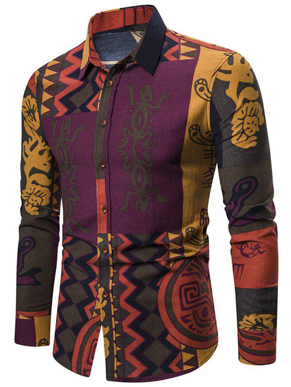 Discount Abstract Tribal Print Button Up Long Sleeve Shirt