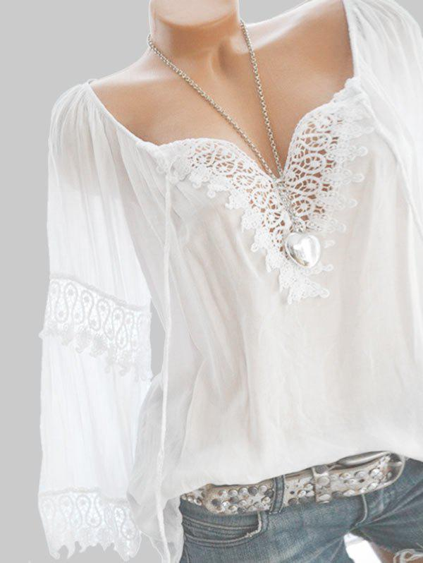 Shop Plus Size Lace Crochet Peasant Blouse